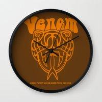 will ferrell Wall Clocks featuring ANCHORMAN - Venom  by John Medbury (LAZY J Studios)