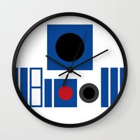 r2d2 Wall Clocks featuring R2D2 by VineDesign