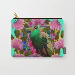 GREEN PEACOCK &  PINK ROSE GARDEN TURQUOISE ART Carry-All Pouch