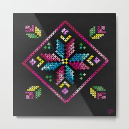 Neon Embroidery Metal Print