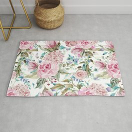 Country chic blush pink teal lavender watercolor floral Rug