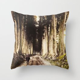 Alone in the woods of Nikko Throw Pillow