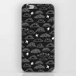 Black Doodle clouds and swallows. Cloudscape pattern with birds. iPhone Skin