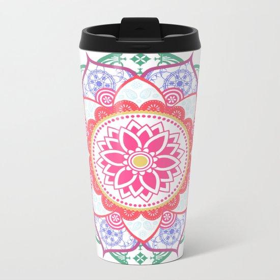 Decorative Coloured Flower Mandala Green Purple Blue Pink Metal Travel Mug