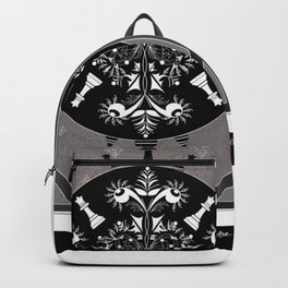 Grey, Black and White Chess Mandala Queens Backpack