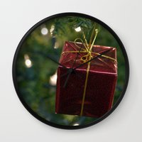 gift card Wall Clocks featuring Christmas Gift by Selene D