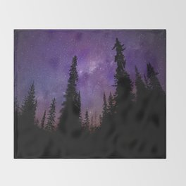 Milky Way Galaxy Over the Forest Throw Blanket