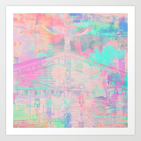 Totem Cabin Abstract - Pastel Art Print