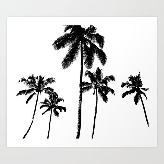 Monochrome tropical palms Art Print