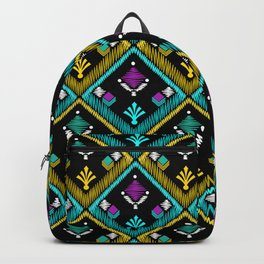 Abstract ethnic ornament. Black background . Backpack