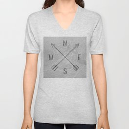 Compass Black and White Tree Unisex V-Neck