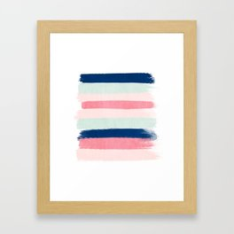 Painted stripes trendy color palette minimal striped decor nursery home Framed Art Print