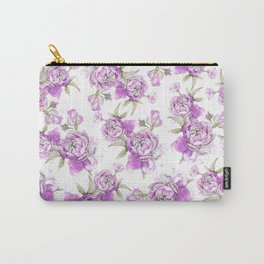 Elegant lavender lilac pink hand painted watercolor peonies Carry-All Pouch