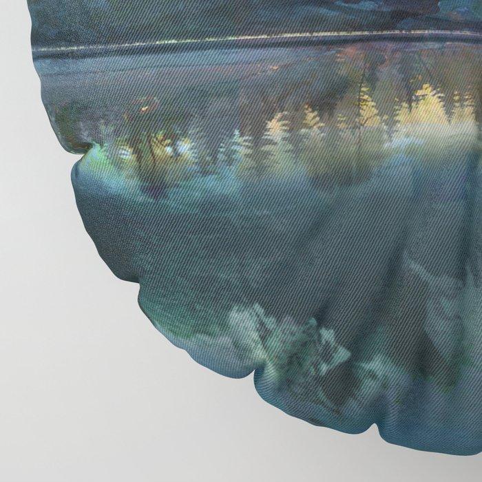 Mountain Lake Under Sunrise Floor Pillow