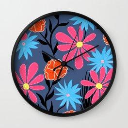 Twilight Blooms Wall Clock