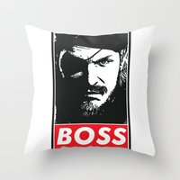 metal gear solid Throw Pillows featuring Big Boss - Metal Gear Solid by TxzDesign