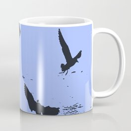 Silhouette Of A Flock Of Seagulls Over Water Vector Coffee Mug
