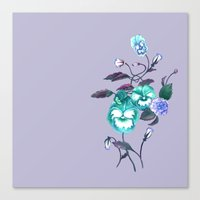 decal Canvas Prints featuring Pansy Decal Lavender & Turquoise by ThistleandFox