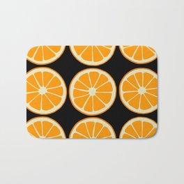 Oranges on Black, Fruit Pattern Bath Mat