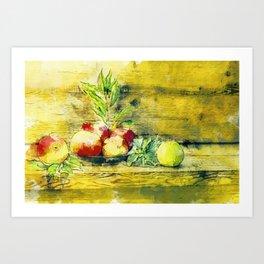 Still Life Apples In Bowl Rustic Watercolour Art Art Print