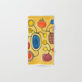 Orbs N Lines - Bird Pond Flowers Hand & Bath Towel