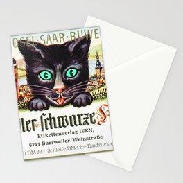 Vintage Zeller Schwarze Katz Black Cat Wine Bottle Label Print Stationery Cards