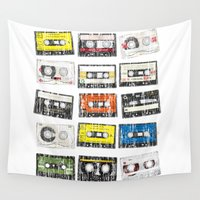 cassette Wall Tapestries featuring cassette vintage by jun salazar