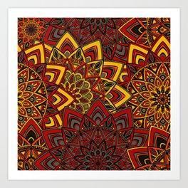 Red & Yellow Boho Mandela Pattern Art Print