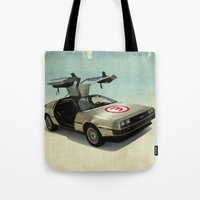 delorean Tote Bags featuring Number 3 - DeLorean by Vin Zzep