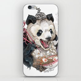 Panda Eating Ramen In A Tin Foil hat iPhone Skin