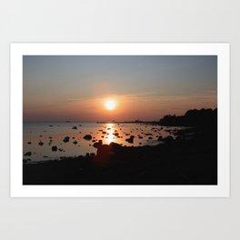 mellow bay sunset Art Print