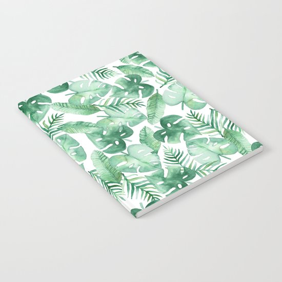 Tropical Jungle on White Notebook