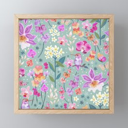 Orchid Garden on Sage Green Framed Mini Art Print