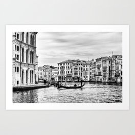 Gondola and tourists in Venice Art Print