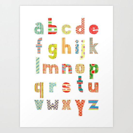 Alphabet with patterns Art Print