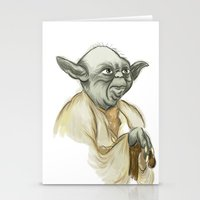 yoda Stationery Cards featuring YODA by carotoki art and love