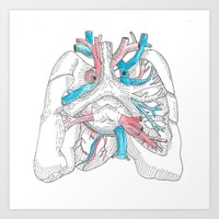 lungs Art Prints featuring lungs by Megan