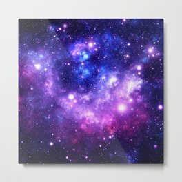 Purple Blue Galaxy Nebula Metal Print