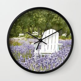 White Chair in a Field of Purple Lavender Flowers Wall Clock