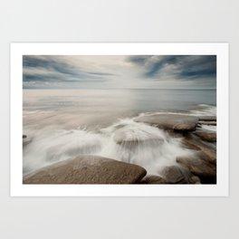 waves on rocks Art Print