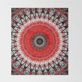 Bright Red White Mandala Design Throw Blanket