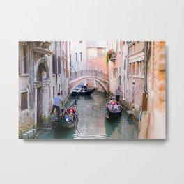 Exploring Venice by Gondola Metal Print