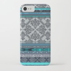 Teal, Aqua & Grey Vintage Bohemian Wallpaper Stripes Slim Case iPhone 7