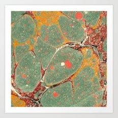 Marbled Green Orange 2 Art Print