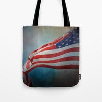 american flag Tote Bags featuring American Flag by Jai Johnson