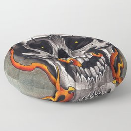 Skull in Flames Floor Pillow