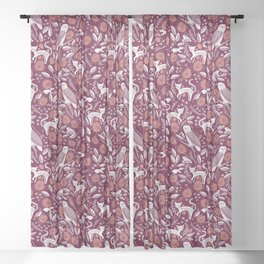 Cat, Rat, Owl and Toad- Maroon Monchrome Sheer Curtain