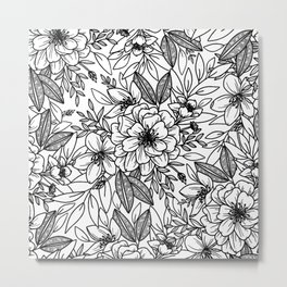Victorian Floral in Black and White Metal Print