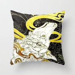 Golden wolf Throw Pillow