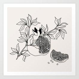 Pomegranate (BW) Art Print